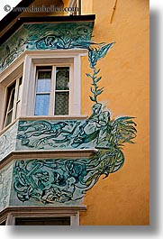 bolzano, dolomites, europe, italy, murals, vertical, windows, photograph