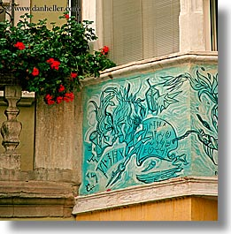 bolzano, dolomites, europe, italy, murals, square format, windows, photograph