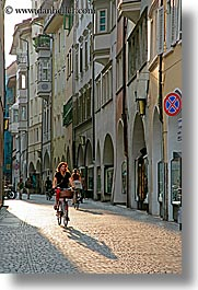 bicycles, bicyclists, bolzano, dolomites, europe, italy, streets, vertical, photograph