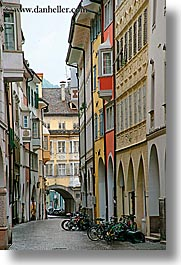 bicycles, bolzano, dolomites, empty, europe, italy, streets, vertical, photograph