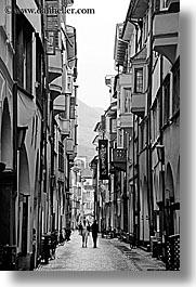 black and white, bolzano, dolomites, europe, italy, pedestrians, streets, vertical, photograph