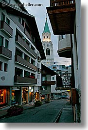 alto adige, cortina, dolomites, europe, italy, shops, steeples, vertical, photograph