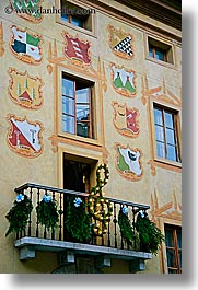 alto adige, cortina, dolomites, europe, families, italy, murals, shields, vertical, photograph