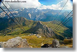 alto adige, cablecar, dolomites, europe, horizontal, italy, latemar, views, wires, photograph