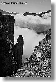 alto adige, black and white, clouds, dolomites, europe, italy, latemar, rim, vertical, photograph