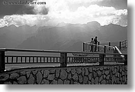 alto adige, black and white, dolomites, europe, horizontal, italy, latemar, mountains, railing, vista, photograph