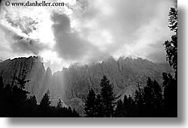 alto adige, black and white, dolomites, europe, horizontal, italy, layered, layered mountains, mountains, photograph