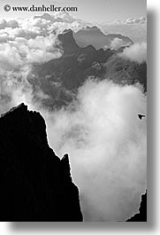 alto adige, black and white, dolomites, europe, italy, layered, layered mountains, mountains, vertical, photograph