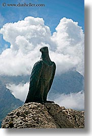 alto adige, dolomites, eagles, europe, italy, statues, vertical, photograph