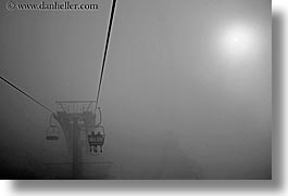 alto adige, black and white, chairs, dolomites, europe, foggy, horizontal, italy, lift, photograph