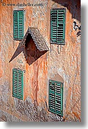 alto adige, dolomites, europe, green, italy, shutters, vertical, windows, photograph