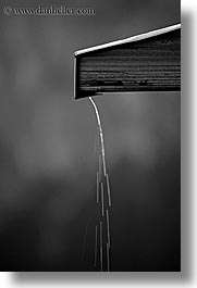 alto adige, black and white, dolomites, drip, europe, italy, rain, spout, vertical, photograph