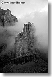 alto adige, black and white, dolomites, europe, foggy, italy, mountains, vertical, photograph