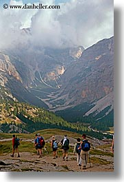 alto adige, dolomites, europe, hikers, italy, mountains, vertical, photograph