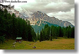 alto adige, clouds, dolomites, europe, horizontal, huts, italy, mountains, tofane, photograph