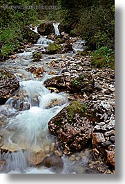 alto adige, babbling, brook, dolomites, europe, italy, nature, slow exposure, vertical, photograph