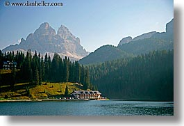 alto adige, dolomites, europe, horizontal, houses, italy, lakes, mountains, nature, photograph