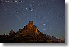 alto adige, dolomites, europe, giau, gusela mountain, horizontal, italy, long exposure, nite, pass, passo giau, star trails, stars, photograph
