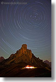 alto adige, dolomites, europe, giau, gusela mountain, italy, long exposure, nite, pass, passo giau, star trails, stars, vertical, photograph