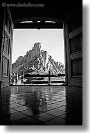 alto adige, black and white, dolomites, doorways, europe, gusela, gusela mountain, italy, mountains, passo giau, vertical, photograph