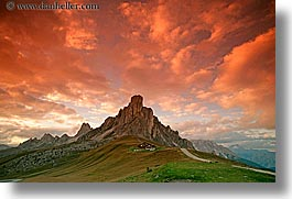 alto adige, dolomites, europe, gusela, gusela mountain, horizontal, italy, mountains, passo giau, sunsets, photograph