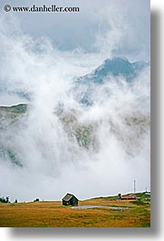 alto adige, dolomites, europe, fog, huts, italy, passo giau, vertical, photograph