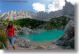 alto adige, childrens, dolomites, europe, fisheye lens, girls, horizontal, italy, lakes, people, photograph