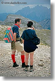 alto adige, colorful, dolomites, europe, hikers, italy, men, people, vertical, womens, photograph