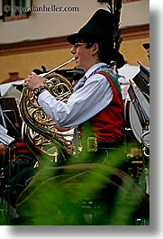 alto adige, dolomites, europe, french, horns, italy, men, people, players, vertical, photograph
