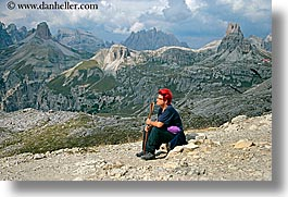 alto adige, dolomites, europe, hikers, horizontal, italy, people, redhead, womens, photograph