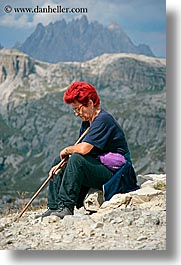 alto adige, dolomites, europe, hikers, italy, people, redhead, vertical, womens, photograph