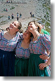 alto adige, dolomites, europe, girls, italy, people, smiling, vertical, womens, photograph