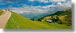 alto adige, dolomites, europe, hikers, hiking, horizontal, italy, panoramic, rosengarten, scenics, photograph