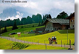 alto adige, carriage, dolomites, europe, horizontal, horses, houses, italy, rosengarten, scenics, photograph