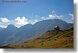 alto adige, churches, dolomites, europe, horizontal, houses, italy, mountains, rosengarten, photograph