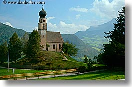 alto adige, churches, dolomites, europe, horizontal, houses, italy, rosengarten, photograph
