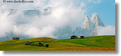 alto adige, dolomites, europe, horizontal, houses, italy, mountains, panoramic, rosengarten, photograph