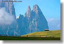 alto adige, dolomites, europe, horizontal, houses, italy, mountains, rosengarten, photograph