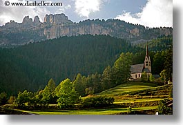 alto adige, churches, dolomites, europe, horizontal, italy, mountains, rosengarten, trees, valley, photograph