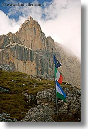 alto adige, dolomites, europe, flags, italy, mountains, rosengarten, vertical, photograph