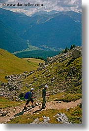 alto adige, dolomites, europe, hikers, italy, rosengarten, vertical, photograph