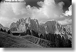 alto adige, black and white, dolomites, europe, horizontal, houses, italy, rosengarten, photograph
