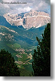 alto adige, dolomites, europe, italy, mountains, rosengarten, towns, vertical, photograph