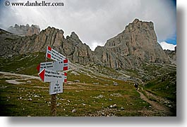 alto adige, dolomites, europe, horizontal, italy, rosengarten, signs, trails, photograph