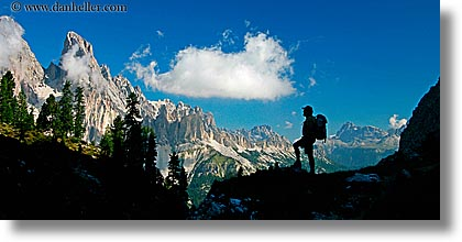 alto adige, dolomites, europe, hikers, horizontal, italy, silhouettes, photograph