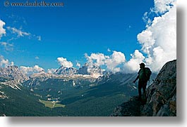 alto adige, clouds, dolomites, edge, europe, hikers, horizontal, italy, mountains, silhouettes, photograph