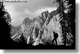 alto adige, black and white, dolomites, europe, horizontal, italy, mountains, rosengarten, silhouettes, photograph