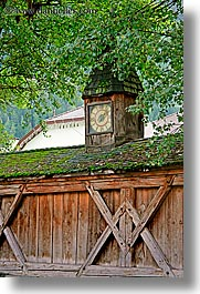 alto adige, barn, clocks, dolomites, europe, italy, st ulrich, vertical, photograph