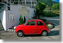 alto adige, cars, dolomites, europe, gardena, horizontal, hotels, italy, red, st ulrich, photograph
