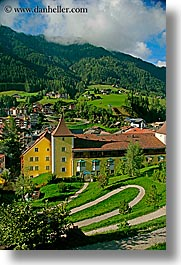 alto adige, dolomites, europe, italy, st ulrich, towns, vertical, photograph